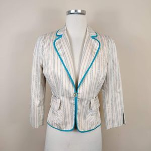 NWT Express Teal Stripe Fitted Suit Jacket